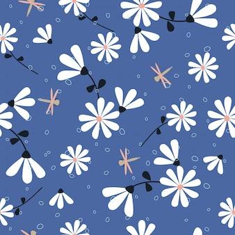 かわいい花のシームレスなパターン背景