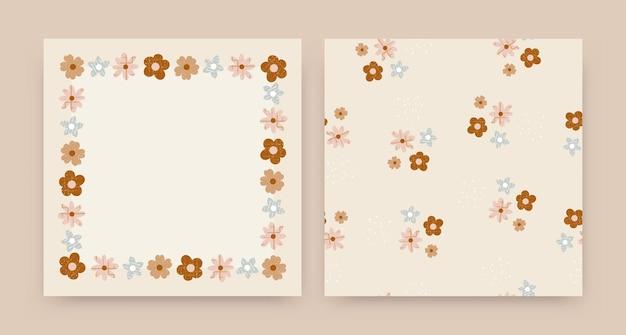 Милые цветы бесшовные модели цветочный фон и обои цветы с текстурой премиум векторы