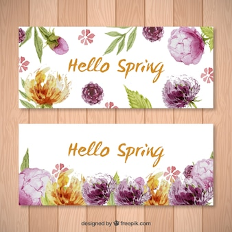 귀여운 꽃 봄 배너 팩