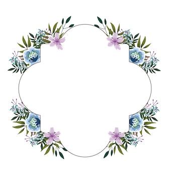 かわいい花の水彩装飾ボーダー