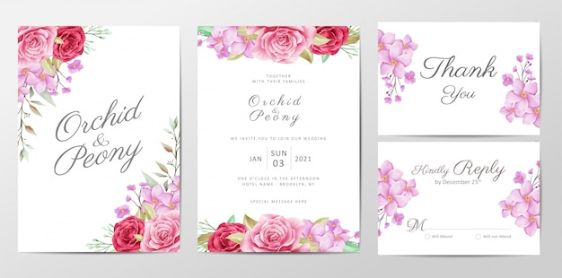 Cute flowers wedding invitation cards template set