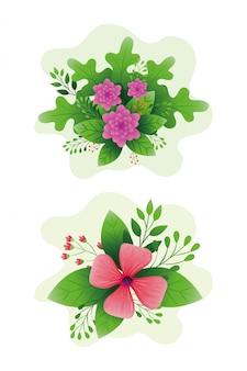 Милые цветы с ветвями и листьями