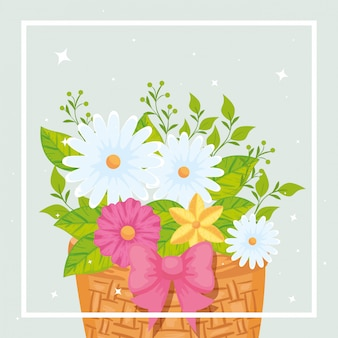 Cute flowers with leafs in basket wicker vector illustration design