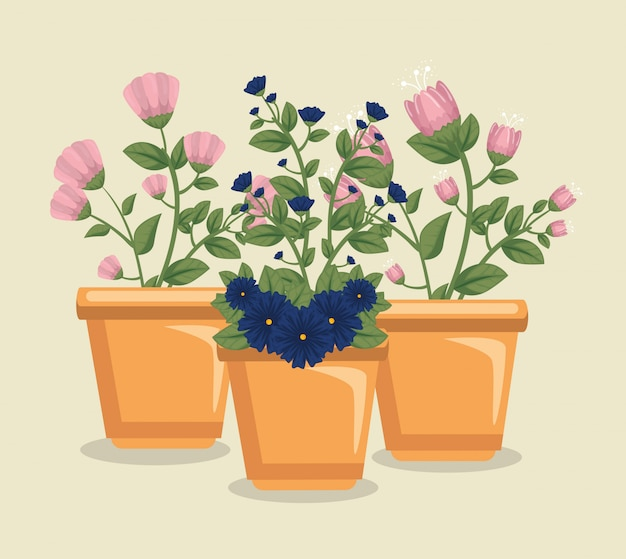 Cute flowers with leaves inside plant pot