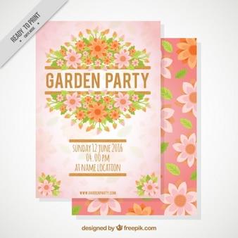 かわいい花のガーデンパーティーの招待状