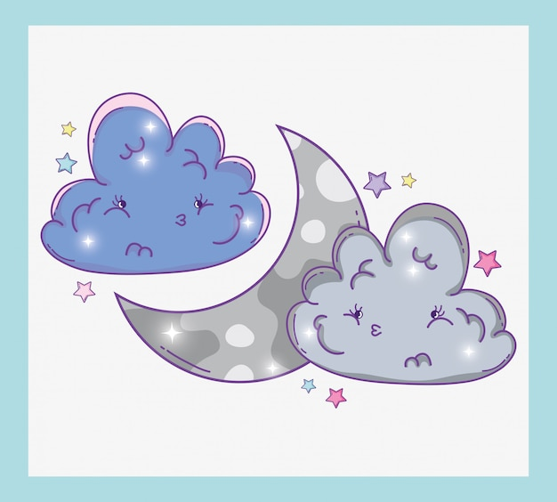 Cute fluffy clouds with moon and stars