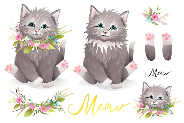 Cute fluffy furry kitten with flowers wreath around neck, cat paws, floral compositions and head portrait separately. designer kitty clipart collection, realistic hand drawn vector in watercolor style