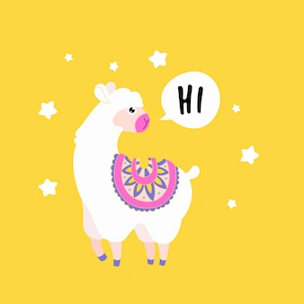 Cute fluffy llama alpaca say hello. funny animal print card.