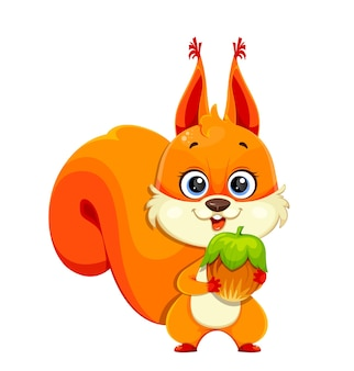 Cute fluffy squirrel holding nut, funny cartoon character