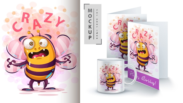 Cute fly bee illustration and merchandising