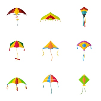 Cute fly kite icon set, flat style