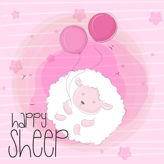 Cute flying baby sheep animal cartoon