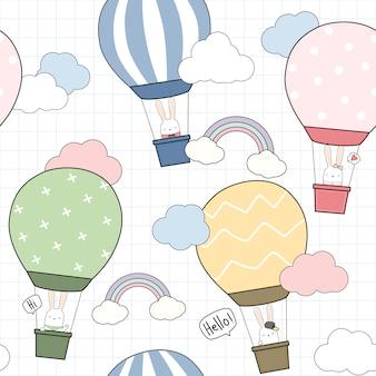 Cute flying balloon rabbit bunny in sky seamless pattern