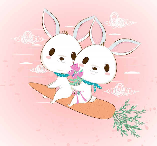 Cute flying bunny rabbit couple on carrot