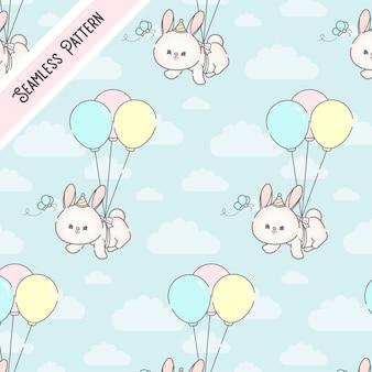 Милый летающий кролик бесшовный фон