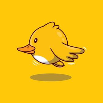 Симпатичные летающие утки мультфильм значок иллюстрации