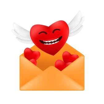 白い背景で隔離バレンタインデーに面白い顔の感情を持つ赤いハートの封筒のイラストから天使の羽を持つかわいい空飛ぶハート