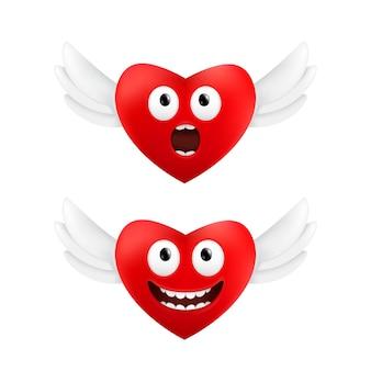 白い背景で隔離の天使の羽を持つ2つの赤いハートのバレンタインデーのセットに面白い顔の感情を持つかわいい空飛ぶハート