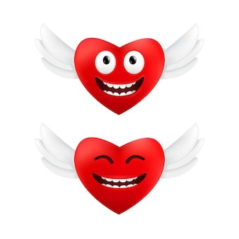 Cute flying hearts with funny facial emotions to valentine's day set of two red hearts with angel wings isolated on a white background