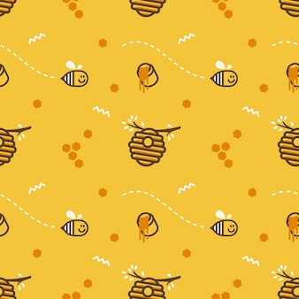 Cute flying little bee hive honeycomb with honey jar vector seamless pattern background