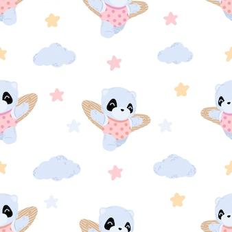 Cute flying panda seamless pattern