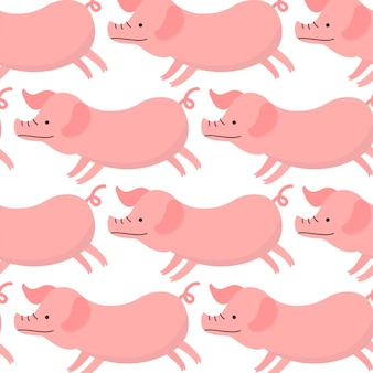 Cute flying pig pattern