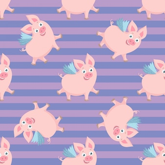 Симпатичные летающие свиньи бесшовные модели. красочный фон