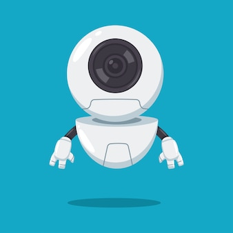 Cute flying robot with lens vector flat cartoon character isolated on background.