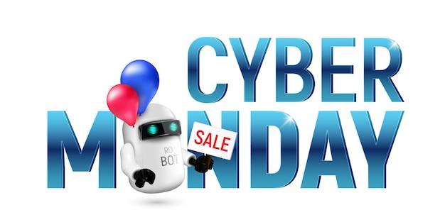 Милый летающий робот с красными и синими воздушными шарами, держа в руке знак продажи. реалистичные векторные иллюстрации к кибер-понедельник, изолированные на белом фоне. идеально подходит для рекламы или дизайна вашего сайта