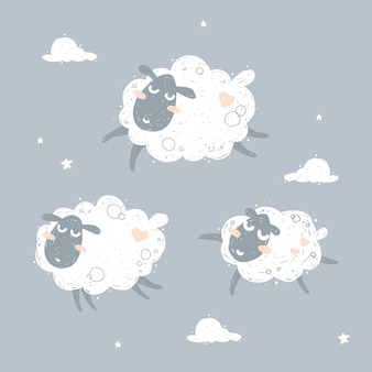 Cute flying sheep and dreaming illustration