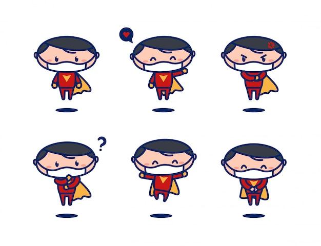 Симпатичный летающий супер герой мультяшный талисман