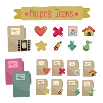 Cute folder icon set for desktop and laptop different colors