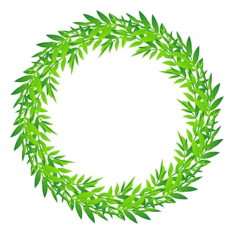 Cute foliage round frame, green leaves circle border, wreath of bamboo leaves and branches