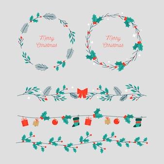 Симпатичная листва венок и рамка на рождество