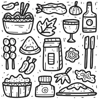 かわいい食べ物の落書き