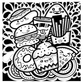 Cute food doodles square style consisting of cupcakes, hamburgers, donuts, french fries, pizza, hotdogs and a glass of water.