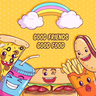 Cute food illustration with kawaii or funny face on yellow