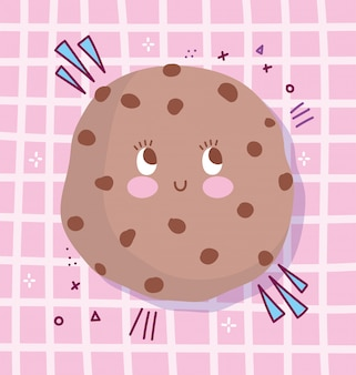 Симпатичные еда питание мультипликационный персонаж шоколадное печенье с чипсами векторные иллюстрации