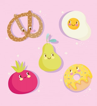 Cute food nutrition cartoon character egg pear tomato donut and pretzel icons vector illustration