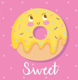 Симпатичные еда питание мультипликационный персонаж сладкий пончик десерт векторные иллюстрации