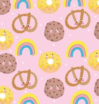 귀여운 음식 패턴 디자인, 장식 꽈배기 쿠키 도넛과 무지개 벡터 일러스트 레이션