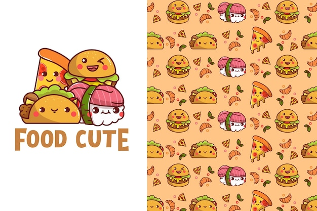 Cute food seamless pattern