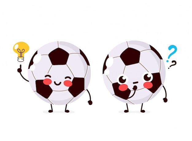 Cute football ball with question mark and lightbulb character. flat cartoon character illustration icon design. isolated on white background. soccer ball have idea concept