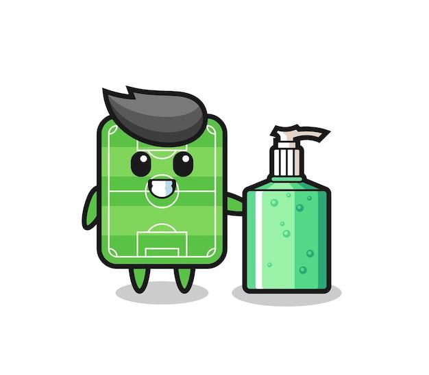 Cute football field cartoon with hand sanitizer , cute style design for t shirt, sticker, logo element