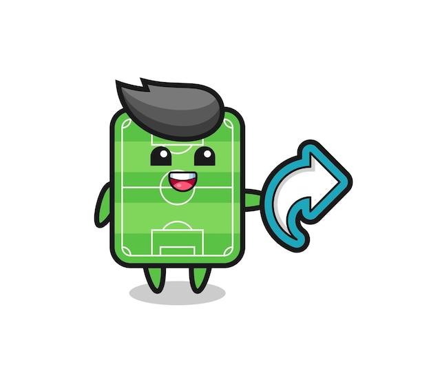 Cute football field hold social media share symbol , cute style design for t shirt, sticker, logo element