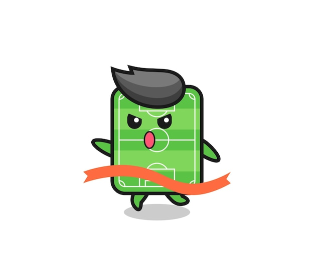 Cute football field illustration is reaching the finish , cute style design for t shirt, sticker, logo element