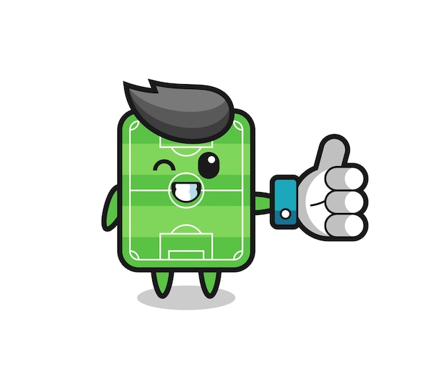Cute football field with social media thumbs up symbol , cute style design for t shirt, sticker, logo element