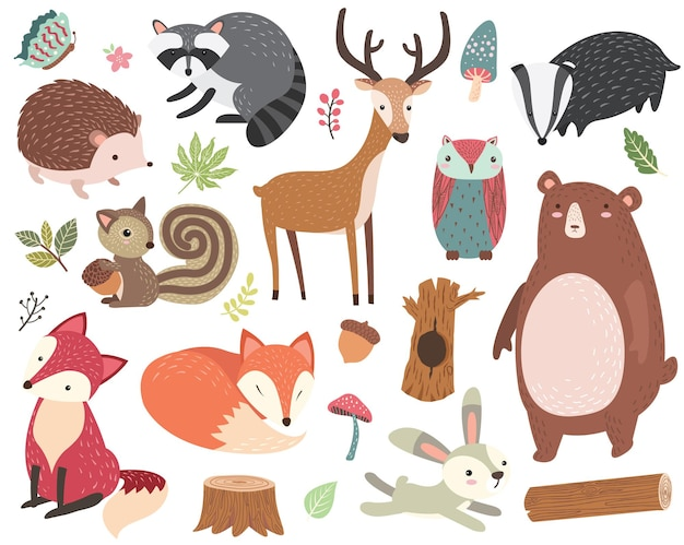 Cute forest animal collections set