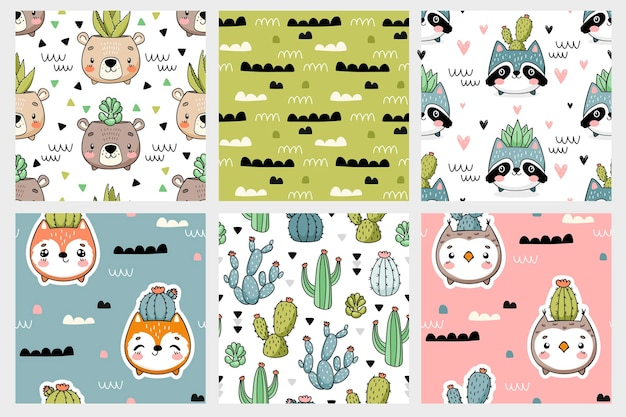 Cute forest animal faces pots with cacti seamless patterns collection