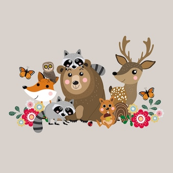 Cute forest animal, wildlife vector.